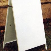 All steel A Board in gloss white or blue. Overal size 30